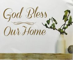 Wall Quotes Gold Foil Peel And Stick Wall Decals God Bless Our Home New - keywebco - 1