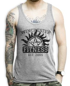 457ff8751462e0 Winchester Fitness on a Unisex Athletic Grey Tank Top Aint no fitness like  Winchester Fitness.