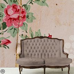 Vintage Rose Couture Full Wall Mural-Peel & Stick Self Adhesive Fabric Wallpaper-Repositionable-Reusable- FAST. EASY.