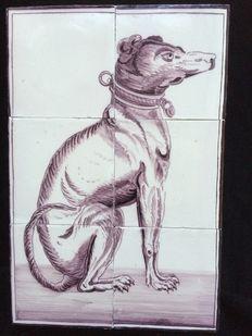 Tableau van hond (Whippet) op 6 tegels