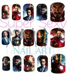Iron Man Robert Downey Jr Tony Stark Nail Art by SuperSexyNailArt, $4.99