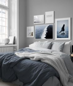 in the Inspiration / Bedroom group at Desenio AB . - in the Inspiration / Bedroom group at Desenio AB in the Inspiration / Bedr - Bedroom Inspo Grey, Blue Bedroom, Trendy Bedroom, Bedroom Colors, Modern Bedroom, Bedroom Inspiration, Blue Bedding, Interior Inspiration, Design Inspiration