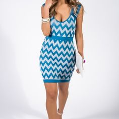 Teal/gray chevron bandage dress via Thorpe's Emporium. Click on the image to see more!