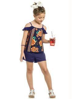 Blusa para niña Little Girl Fashion, Little Girl Dresses, Kids Fashion, Girls Dresses, Kids Dress Wear, Kids Wear, Baby Dress, African Dresses For Kids, Jupe Short