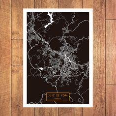 JUIZ De FORA Brazil CANVAS Large Art City Map By JackTravelMap