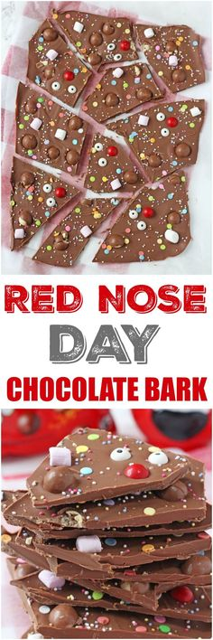 Get the kids involved in making some treats for Red Nose Day with this fun Chocolate Bark topped with malteasers, marshmallows and sweets!