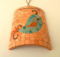 Mosaico de passarinho :: Decoração | Mosaic bird decorative roof tile