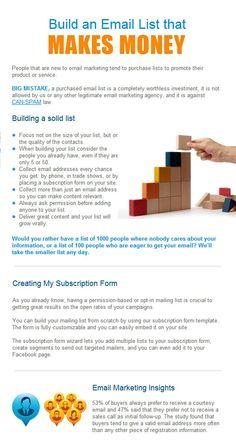 Build an Email List that Makes Money   http://blog.emailbrain.com/english/?p=2149
