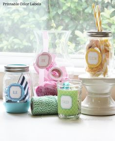 Color-coded labels (printable, free) Printable Crafts, Printable Labels, Free Printables, Labels Free, Jar Labels, Craft Organization, Craft Storage, Storage Ideas, Craft Cabinet