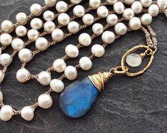 Labradorite necklace - Crochet necklace, Pearl long necklace, Labradorite jewellery, June birthstone gift, Crochet jewellery