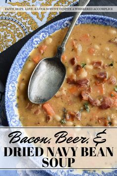 Bacon, Beer, & Dried Navy Bean Soup - Don't be afraid to break out a bag of dried beans to make your next pot of soup. An overnight soak in water is all that is needed to help them plump up and soften. Add in some bacon, beer, a few veggies, and some seasonings, and you'll have a pot of navy bean soup that's almost impossible to resist.