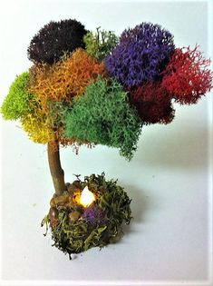 Fall Fantasy Tree, Fairy Garden Tree, Miniature Tree Moss Wall Art, Moss Art, Garden Trees, Garden Art, Types Of Fire, Garden Fire Pit, Rose Trees, Fairy Furniture, Miniature Trees