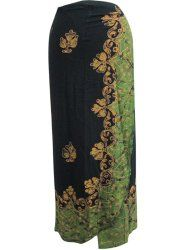 Long Wrap Skirt Black Green Batik Print Indie Beach Dress Wrap Around Skirt