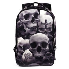 d2a26716fb4b  gt  gt  gt Coupon Code2016 New Fashion Men s Backpack Cool Printing  Backpacks Skull