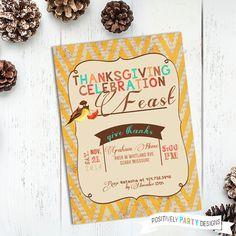 Thanksgiving Celebration Feast Invite - 5x7 JPG or PDF - pinned by pin4etsy.com