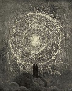 Illustration to Dante's Divine Comedy, Paradiso by Gustave Doré. Plate 34:  Dante and Beatrice Beyond the Heavenly Host of Angels