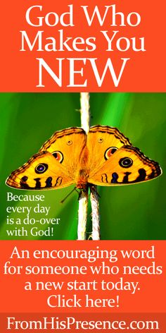An encouraging word for someone who needs a new start today! God makes all things new! By Jamie Rohrbaugh   FromHisPresence.com