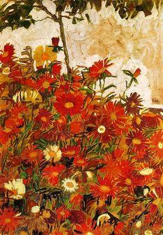 Field of Flowers, 1910 by Egon Schiele, (Austrian 1890-1918)