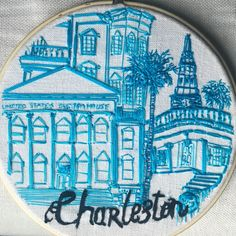"""My freestyle hand blue work embroidery of Charleston SC. """"Perfectly imperfect """"."""