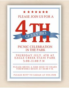 Banner 4th of July Invitation set of 10 by MadelineLewisDesigns, $20.00