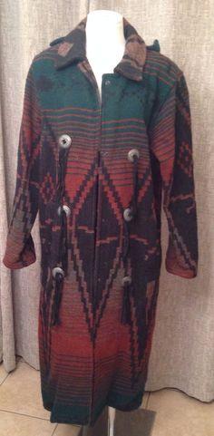 Vtg WOOLRICH Southwestern Indian Blanket Wool Leather Long Coat Conchos Sz S USA