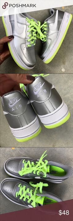 🦃💰 NWB ✨ NIKE AIR FORCE 1 SILVER METALLIC | VOLT 🦃 SPECIAL Black FRIDAY DEAL ! No OFFERS PLEASE 🦃   New never worn 😍 NIKE AIR FORCE 1 LEATHER LOW ⚡️ METALLIC SILVER & VOLT! ⚡️ UNISEX SHOE 👫 ORIGINAL NIKE BOX. EVERYONE LOVES A PAIR OF NIKES UNDER THE TREE! 🌲🎁  📍ORDER YOUR WOMANS SHOE SIZE📍ONE PAIR OF EACH SIZE AVAILABLE.   Size 5 youth approx = 6.5 women (**no box)  Size 6.5 youth approx = 8 women  Ships same or next day, ORIGINAL BOX, smoke free home.  PRICE IS FIRM. 100% authentic…