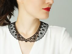 Aland DIY Embroidery Lace Hollow Round Neckline Collar Trim Clothes Sewing Applique Openwork Lace Fake Collar Black Polyester Light Soluble Mesh Black