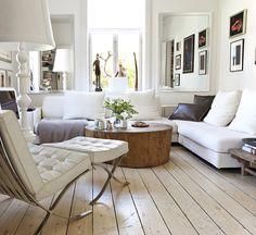 white barcelona chair....floors, everything.