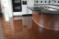 Metallic Epoxy Coating - Concrete Floors (Concrete Solutions, San Diego, CA) An alternative flooring solution to ceramic tile or hardwood floors. Concrete Kitchen Floor, Epoxy Floor Basement, Painted Concrete Floors, Painting Concrete, Stained Concrete, Kitchen Flooring, Cement Floors, Hardwood Floors, Home Design