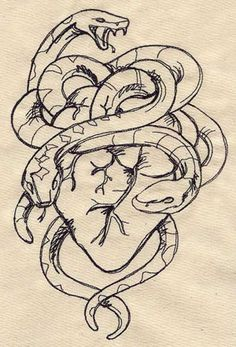 $7 Snakes and Heart | Urban Threads: Unique and Awesome Embroidery Designs