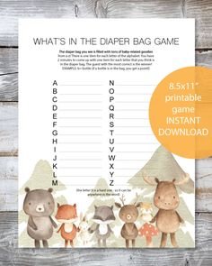 Woodland Watercolor Animals Printable What's In The Diaper Bag Baby Shower Game