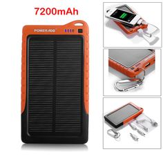 Poweradd 7200mAh Silicon Solar Panel Charger Battery Power Bank For iPhone 6 5S