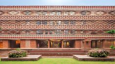Krushi Bhawan is a government building in Odisha, India, designed by architecture practice Studio Lotus and featuring an elaborate brick facade. Brick Cladding, Brick Facade, Brickwork, Indian Architecture, Facade Architecture, Architecture Geometric, Boulder House, Solar Panel Installation, Urban Farming
