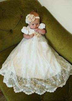 Baptism / Blessing / Christening LACE Dress with champange sash and rose... The Emma Dress