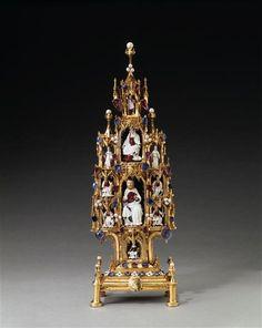 Tableau of the Trinity, Paris, 1380-90. Gold, enamel and precious stones. H. 44,5 cm. Paris, Louvre