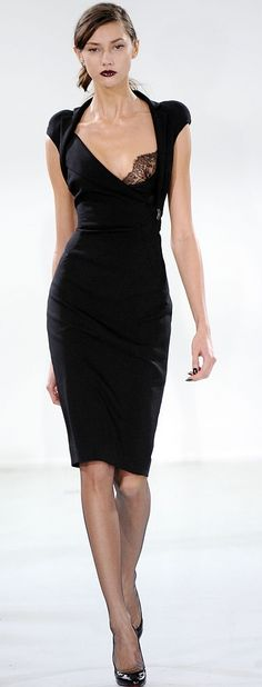 Antonio Berardi: A stunning shape for the client with hips broader than her bust-line.  The wide scooping neckline with cap sleeves works to flatter and broaden the bust-line.  Marry this with a simple pencil skirt and you have the balance and proportion the Triangle body type is always looking for.