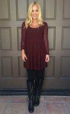 Glowing Ember Speckled Knit Dress - CRIMSON