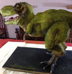 oh my goodness this is absolutely amazing! T-Rex Cake T Rex Cake, Dino Cake, Dinosaur Cake, Dinosaur Birthday, Dinosaur Party, 4th Birthday, Birthday Cakes, Gravity Defying Cake, Gravity Cake