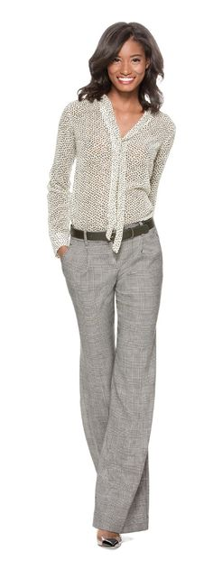Bow Neck Layering Blouse, Glen Plaid Trouser Pants and Slim Buckle Belt from…