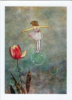 """Bubble Fairy With Tulip.jpg Ida Rentoul Outhwaite - was an Australian illustrator of children's books. She was masterful at depicting fairies and the natural world. Her books include """"Elves and Fairies"""" The """"Enchanted Forest"""" """"Blossom: A Fairy Story"""" Arte Fashion, Cicely Mary Barker, Vintage Fairies, Flower Fairies, Fairy Art, Children's Book Illustration, Book Illustrations, Faeries, Illustrators"""
