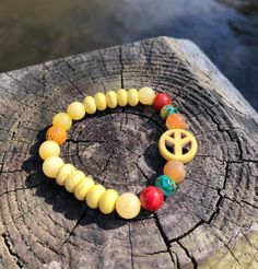 Excited to share this item from my #etsy shop: Peace Sign Bracelet. Yellow Women Men Bracelet. Gift BOHO Bracelet. Boho Chic. Good Vibes #no #unisexadults #bohohippie #yellow #blue #bohochic #peacesign #peace Bracelets For Men, Beaded Bracelets, Hippie Boho, Bohemian, Yellow, Blue, Boho Chic, Peace, Etsy Shop