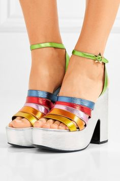 MR by Man Repeller - Lol If You Think I'm Walking Metallic Leather Platform Sandals - Silver - IT39.5