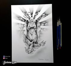 tattoo sketch, religious tattoo, angel drawing, god bird, religious design, pencil art, tattoo art