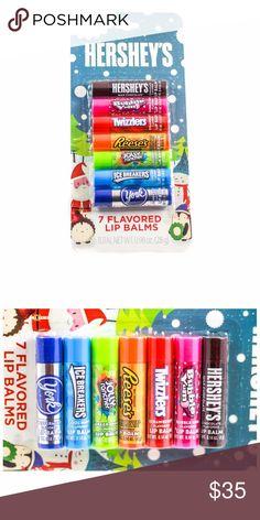 Hershey's 7 Flavored Holiday Lip Balm Bubble Yum, Cute Lipstick, Chapstick Lip Balm, Purple Acrylic Nails, Flavored Lip Gloss, Candy Brands, Nice Lips, Jolly Rancher, Coffin Shape Nails