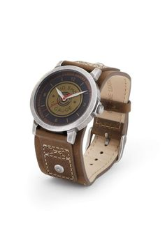 """This wrist watch is a perfect gift for any special occasion. Japanese quartz movement, antique brass case, genuine suede leather band, antique stainless steel buckle, nickle-free. Itcomes packaged in a gift box. Japanese quartz movement.    Dimensions:9.5"""" W x 1.5"""" H   Big Shot Watch by DEMDACO. Accessories - Jewelry - Watches Virginia"""