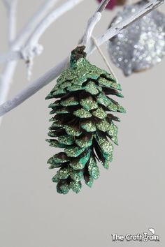 Sparkly nature ornaments that kids can make