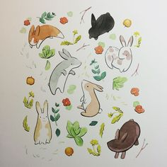 Copic Drawings, Cartoon Drawings, Cute Animal Drawings Kawaii, Cute Drawings, Cute Illustration, Watercolor Illustration, Anime Drawing Books, Clay Art Projects, Animal Sketches
