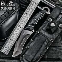 HX outdoors High quality tactical knife multi tool surface plated titanium Fixed black Knife Camping Tool survival hunting knive