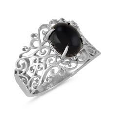 This unique ring features one oval black agate gemstone at the center of its design. The 13.8mm wide ring is crafted from quality sterling silver and includes vintage-inspired cutout scroll designs.