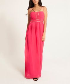 Look at this Little Mistress Pink Double-Strap Maxi Dress on #zulily today!